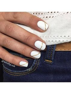 White nails with gold detailing / simple nail art