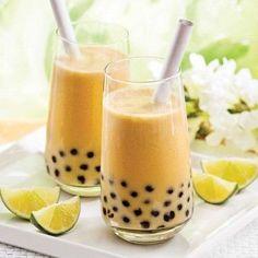 Bubble tea mango and coconut milk , Bubble Tea Mango and Coconut Milk - Recipes - Cooking and Nutrition - Pratico Pratique. Coconut Milk Recipes, Tea Recipes, Cooking Recipes, Yummy Drinks, Yummy Food, Delicious Meals, Bubble Milk Tea, Cocktails, Cute Food