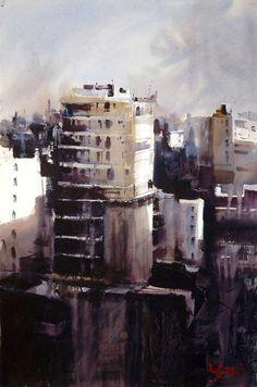 As pinceladas do uruguaio Alvaro Castagnet - GGN Watercolor Artists, Watercolor Landscape, Landscape Paintings, Watercolor Paintings, Watercolours, Landscapes, City Landscape, Fantasy Landscape, Urban Landscape