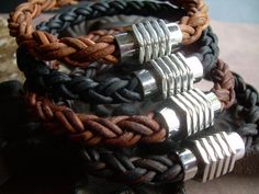 Mens Thick Braided Leather Bracelet with a Large Stainless Steel Magnetic Clasp, Fathers Day Gift, Mens Bracelet, Mens Jewelry, Groomsmen