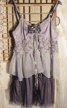 Violet romance... Plus size tattered upcycled vintage slip dress. €129.00, via Etsy.