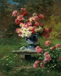 peonies....garden bench...love... Louis Marie Lemaire (1824 - 1910)