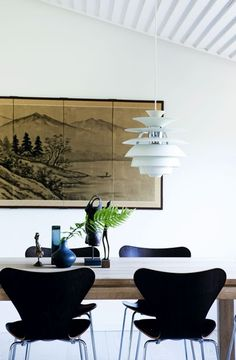 A PH Snowball pendant from Louis Poulsen hangs above a dark wood table and black Arne Jacobsen Series 7 chairs in this original Jørn Utzon-designed home in Denmark. Photo by Tia Borgsmidt Modern Furniture, Furniture Design, Danish Furniture, Scandinavian Interior, Modern Room, Decoration, House Design, Interior Design, Snowball