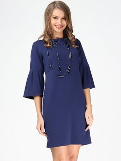 Shop Midi Dresses - Simple Crew Neck 3/4 Sleeve Midi Dress online. Discover unique designers fashion at StyleWe.com.