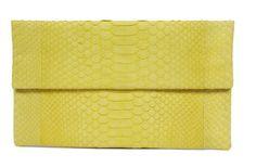 Civette Mode yellow python leather clutch Ipad Covers, Leather Clutch, Python, Scarfs, Clutches, Belts, Branding Design, Luxury Fashion, Wallet
