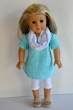 need to figure out those sandals -American Girl Doll Clothes Cute Aqua Blue Prin… - American Girl Dolls American Girl Outfits, My American Girl Doll, American Girl Crafts, American Doll Clothes, Sewing Doll Clothes, Girl Doll Clothes, Girl Dolls, Ag Dolls, American Girl Accessories