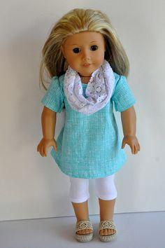 American Girl Doll Clothes Cute Aqua Blue Print by CircleCSewing, $18.00
