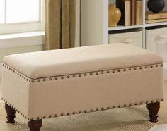 Storage Bench Office Furniture Shoe Organizer Upholstered Ottoman Chair Linen  #Unbranded #Modern