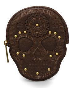 Love this Brown Embossed Sugar Skull Coin Purse by Loungefly on #zulily! #zulilyfinds