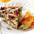 Frittata with Bacon, Fresh Ricotta, and Greens  (lighten up with low-fat or Canadian bacon)