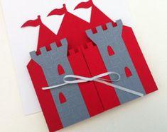 Prinz Castle Einladung Ordner. Ritter, König Geburtstagsparty, Palast Einladung. Burg Form in rot und grau. Nur Ordner.