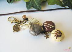 porte clés macarons trio chocolat vanille et gris pâte polymère fimo PCG48 l'air du temps : Porte clés par lutinette40