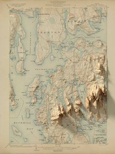 Mapping-and-Visualization — Scott Reinhard Graphic Design and Cartography Vintage Maps, Antique Maps, Map Design, Graphic Design, Bel Art, Map Artwork, Island Map, Colossal Art, Fantasy Map