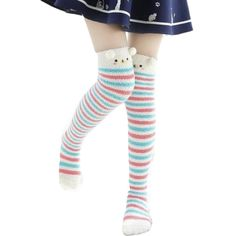 A kawaii collection of adorable socks and tights ranging from thigh high fuzzy stockings, ankle socks, fishnet stockings, and tights that will having you feeling like a princess! Stockings Outfit, Striped Stockings, Fishnet Stockings, Thigh High Boots Heels, Thigh High Socks, Thigh Highs, Heel Boots, Socks For Sale, Cute Socks