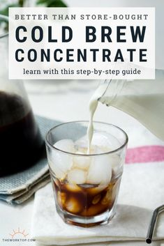 Learn how to make cold brew concentrate at home. This recipe for cold brew coffee is easy to make and better than store bought! Learn the perfect ratio for cold brew concentrate. How to guide on The Worktop. Best Cold Brew Coffee, Making Cold Brew Coffee, How To Make Ice Coffee, Cold Brew Ratio, Cold Brew Coffee Recipe Ratio, Cold Brew Coffee Concentrate, Cold Brew At Home, Coffee Brewer, Coffee Recipes
