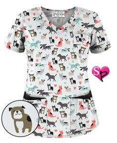 UA Doggy Dog White Print Scrub Top Style # UA638DDW #uniformadvantage #uascrubs…