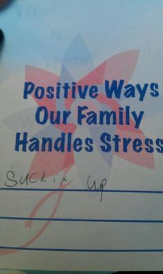 Excellent way to handle stress.. Suck it up!