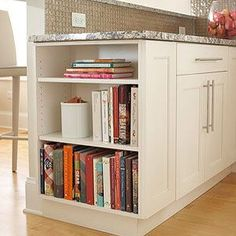 Inspiration - we love this idea from @betterhomesandgardens, such a clever idea to storage all your cooking books. Images sourced by Pinterest #pinterest #inspiration #cooking #kitchen #custombuild #buildingdreams