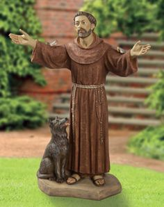 """This 40"""" St. Francis is one of the Saints and religious figures made by Fontanini of Italy. Dimensions 40""""H 30""""W 19""""L  Weight 30 lbs  Marble Based Resin  Made in Italy $999.00 http://www.saintfrancisgarden.com/c68/Fontanini-St-Francis-and-Wolf-40-p158.html#"""
