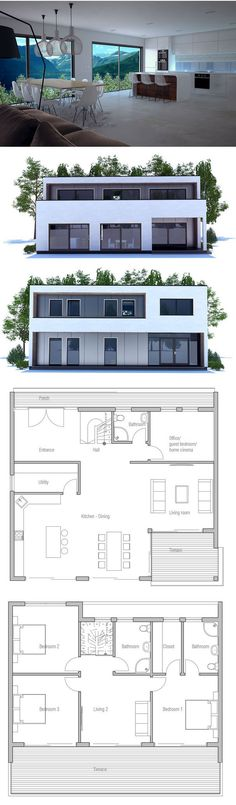 Contemporary House Plan with nice open planning and abundance of natural light. Covered terrace and large balcony.