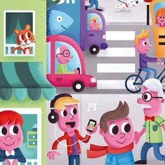 Puzzle illustration - Town scene   http://keuj.net/2016/02/10/illustration-jeunesse-pour-puzzle-la-ville/