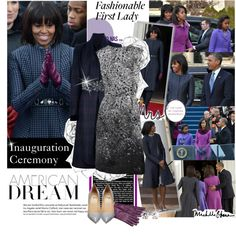 """2013 Inauguration Ceremony - Michelle Obama Is Wintry Perfection"" by gench on Polyvore"