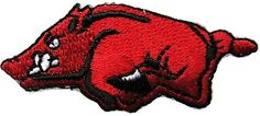"""Amazon.com: [Single Count] Custom and Unique (2"""" x 1"""" Inch) """"Animal"""" Classic Bold Glaring Raging Wild Swift Vibrant Teeth Bared Hog Design Iron On Embroidered Applique Patch {Black, White & Red Colors}"""