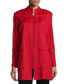 Long Textured Jacket, Size: SMALL (6/8), Classic Red - Misook