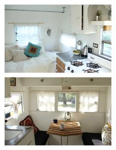 Stylist Taylor Kitto of A Wild Poppy chose light walls and a vintage theme when updating her Midway 1959 camper, which doubles as a home on camping trips and a place to host vintage clothing pop-up sales. See the full tour on design*sponge »   - HouseBeautiful.com