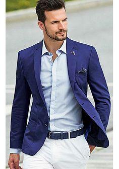 「紺ジャケット+白パンツ」爽やかな春のジャケパンスタイル(メンズ) | Italy Web