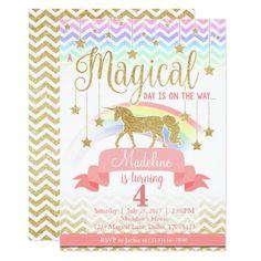 Pink Birthday Invitations Magical Rainbow Unicorn Birthday Party Invitation
