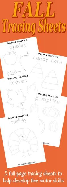 Fall is almost here! Why not celebrate with your little ones with these fun fall tracing sheets? This package includes 5 full page tracing sheets. Fall Preschool, Preschool Learning, Fun Learning, Teaching, Autumn Activities, Preschool Activities, Dementia Activities, Preschool Projects, Diy Pour Enfants