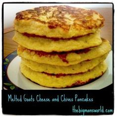 melted goats cheese and chives pancakes