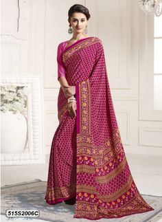 Fab Pink & Yellow Colored Crepe Casual Printed saree