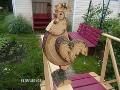 Rooster from wood slices