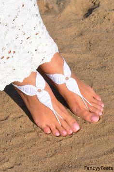 Crochet White Barefoot Sandals, Nude shoes, Foot j Crochet Sandals, Crochet Shoes, Beach Wedding Shoes, Wedding Summer, Barefoot Wedding, Barefoot Beach, Wedding White, Barefoot Sandals Pattern, Mode Du Bikini