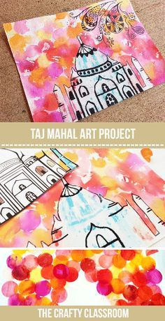 Taj Mahal Art Tutorial for Kids.  This is the perfect project for your India Unit Study.