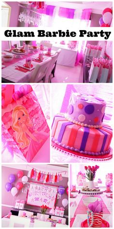 Glam Barbie girl birthday party! See more party ideas at CatchMyParty.com #glam #barbie