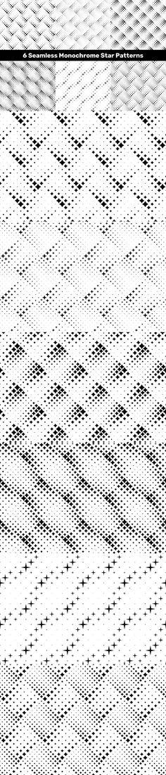 6 Seamless Monochrome Star Patterns #PremiumVectorPatternDesign #stars #textured #patternvector #blackandwhite #PatternDesign #cheap #CheapVectorBackgrounds #PremiumBackgrounds #VectorBackgrounds #sale #GeometricGraphics #seamless #wallpaper #starpattern #cheap #BackgroundSale #VectorPattern #seamless Star Patterns, Vector Background, Vector Pattern, Monochrome, Stars, Abstract, Summary, Monochrome Painting, Sterne