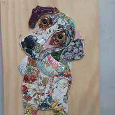 Solange Piffer mosaics puppy dog plates & saucers