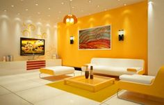 gelb wandfarbe ideen wandgestaltung wohnzimmer