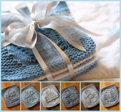 Winter Knitted Dish Cloths (put a bunch together for an afghan? Knitted Washcloths, Crochet Dishcloths, Knit Or Crochet, Yarn Projects, Knitting Projects, Crochet Projects, Knitting Patterns, Crochet Patterns, Cloth Patterns