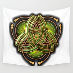 Emerald Celtic Triquetra Knot Wall Tapestry by naumaddicarts | Society6 Framed Prints, Canvas Prints, Art Prints, Triquetra, Society 6 Tapestry, Celtic Art, Wall Tapestry, Vivid Colors, Hand Sewing