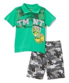 Look at this #zulilyfind! Green TMNT Polo & Camo Shorts - Toddler #zulilyfinds