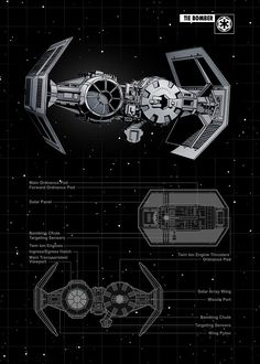 "Official Star Wars Spaceships Technic TIE Bomber artwork by artist ""St… Star Wars Trivia, Star Wars Facts, Star Wars Pictures, Star Wars Images, Darth Vader Ship, Star Wars Zeichnungen, Film Science Fiction, Nave Star Wars, Star Wars Personajes"