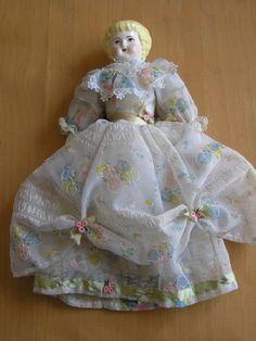 Vintage Antique Ceramic Porcelain Head Hands Feet Doll Leather Body Silk Dress | eBay