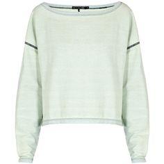 RAG & BONE Echo Sweatshirt ($73) ❤ liked on Polyvore featuring tops, hoodies, sweatshirts, sweaters, shirts, jumper, indigo, indigo shirt, green shirt and crop top