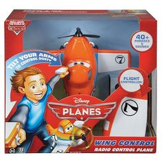 Disney Planes Wing Control Radio Control Plane offers high-flying fun by recreating the action seen in the Disney Toons Studios Planes video. Push the button to set its propeller spinning and move it forward. The 2 controllers, 1 for each wing, let you tilt the wings and control its movement through mimicry. Best of all, sounds and phrases amp up the action for a thrilling air-venture. Product Features: Remote control plane offers role-play fun Push the button to set its propeller spinnin…