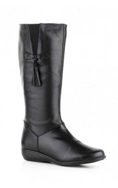 Botas piel negro cuña cremallera borlas Shoe Boots, Ankle Boots, Shoe Bag, Nike Kids, High Knees, Cute Shoes, High Boots, Riding Boots, Fashion Shoes