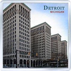 $3.29 - Acrylic Fridge Magnet: United States. Michigan. Detroit. Old General Motors Building